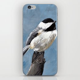 Chickadee Original Acrylic Art on Canvas,Bird Painting, Chickadee Wall Art, Bird on a Branch iPhone Skin