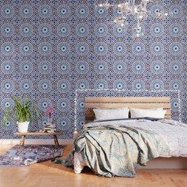 V19 Epic Light Blue Traditional Moroccan Pattern Design . Wallpaper
