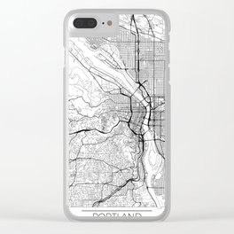 Portland Map White Clear iPhone Case