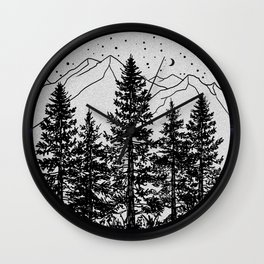 Night Time in the Forest Wall Clock