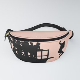 Pink Sky - Tough Mudders Jumping Silhouette Fanny Pack