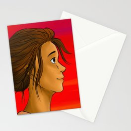 girl at sunset Stationery Cards
