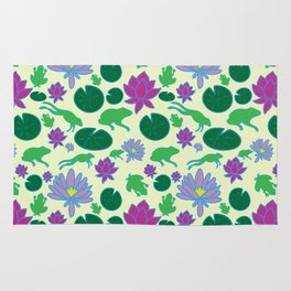 Jumping Frogs of Lily Pad Valley Rug