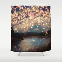 thailand Shower Curtains featuring Love Wish Lanterns by Paula Belle Flores
