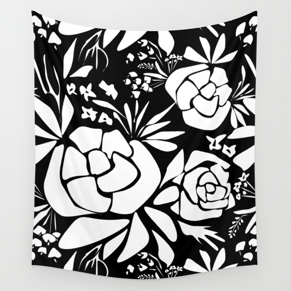 Black And White Stencil Flower Wall Tapestry by Temas14mk TPS8390188