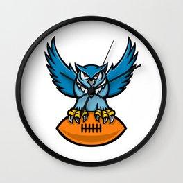 Great Horned Owl American Football Mascot Wall Clock