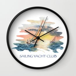 Sailing Yacht Club Blue Words Color Wall Clock