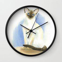 chocolate point siamese cat 2 Wall Clock