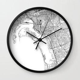 San Diego White Map Wall Clock