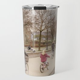 Winter Scene People at Park, Lucca, Italy Travel Mug