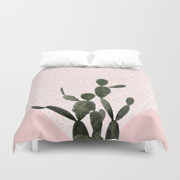 Cactus on Pink and Persian Mosaic Wall Duvet Cover