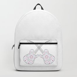 Guitars and ethnic floral mandala in soft pastel colors Backpack