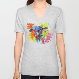 Sea Turtle in Coral Reef Unisex V-Neck