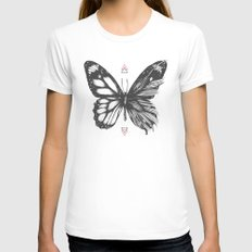 Delicate Existence LARGE White Womens Fitted Tee