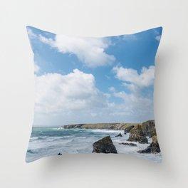 Bedruthan Steps Newquay Cornwall Throw Pillow