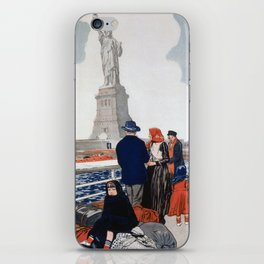 Vintage Immigrants & Statue of Liberty Illustration (1917) iPhone Skin