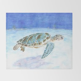 Sea turtle underwater Throw Blanket