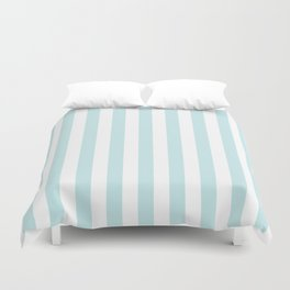 Duck Egg Pale Aqua Blue and White Wide Vertical Beach Hut Stripe Duvet Cover