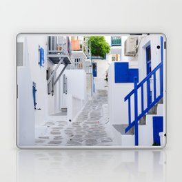 Beautiful Whitewashed Street Mykonos Greece Laptop & iPad Skin