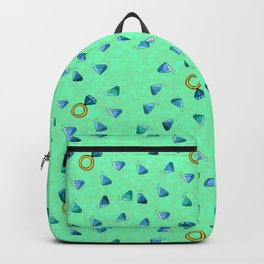 Diamond Pattern Cartoon Pins Ring Patch Style Teal Blue Cell Duck Egg Blue Design Backpack