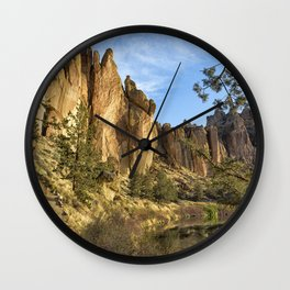Cool Formations of Smith Rock in Morning Light Wall Clock