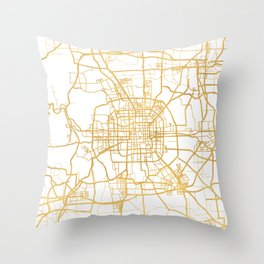 BEIJING CHINA CITY STREET MAP ART Throw Pillow