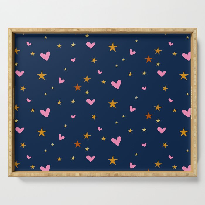 Heart and star pattern, pink and dark blue. Serving Tray