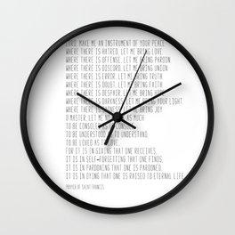 Prayer of Saint Francis #minimalism #prayerofpeace Wall Clock