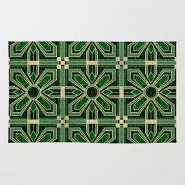 Art Deco Floral Tiles in Emerald Green and Faux Gold Rug