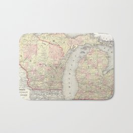 Vintage Map of Michigan & Wisconsin (1862) Bath Mat