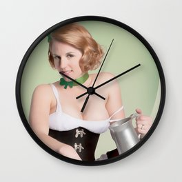 """""""Luck of the Irish"""" - The Playful Pinup - St. Patrick's Day Pinup Girl by Maxwell H. Johnson Wall Clock"""