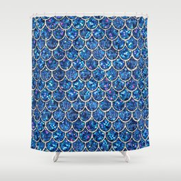 Sparkly Blue & Silver Glitter Mermaid Scales Shower Curtain