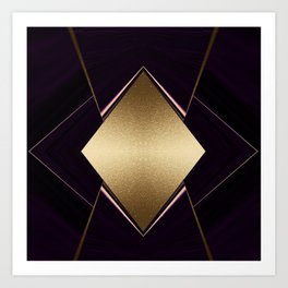 Rich Gold and Purple Accent Diamond Pattern Art Print