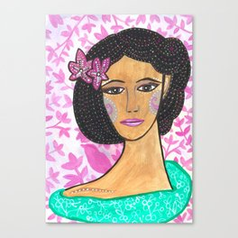 She wore Flowers In Her Hair Canvas Print