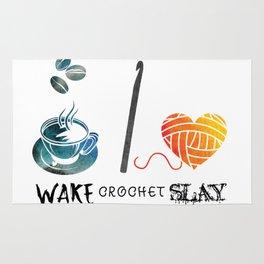 Wake Crochet Slay - Fiber Arts Quote Rug