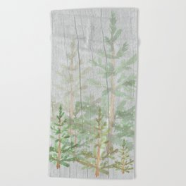 Pine forest on weathered wood Beach Towel