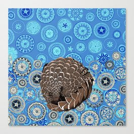 pangolin mandala blue Canvas Print
