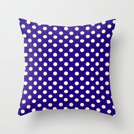 Polka Dot Party in Blue and White Throw Pillow