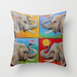 Happy Elephant Pop Art painting Fun colorful illustration Checker Red Yellow Blue Green Ball Throw Pillow