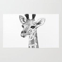 baby giraffe, black and white Rug