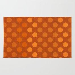 """Orange Burlap Texture & Polka Dots"" Rug"