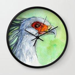 Watercolor secretary bird Wall Clock