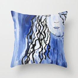 Blue Girl Throw Pillow