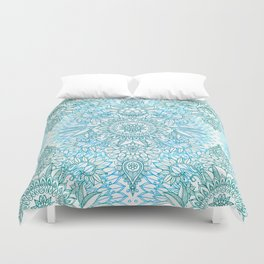 Turquoise Blue, Teal & White Protea Doodle Pattern Duvet Cover
