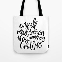 Well Read Woman - Black Lettering Tote Bag