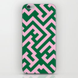 Cotton Candy Pink and Cadmium Green Diagonal Labyrinth iPhone Skin
