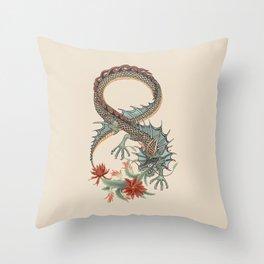 Botanical Flower Dragon 8 Throw Pillow