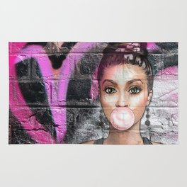 Retro Pinup Girl & Messy Graffiti Wall Rug