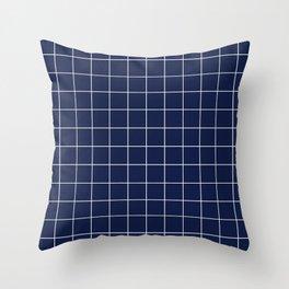 Indigo Navy Blue Grid Throw Pillow
