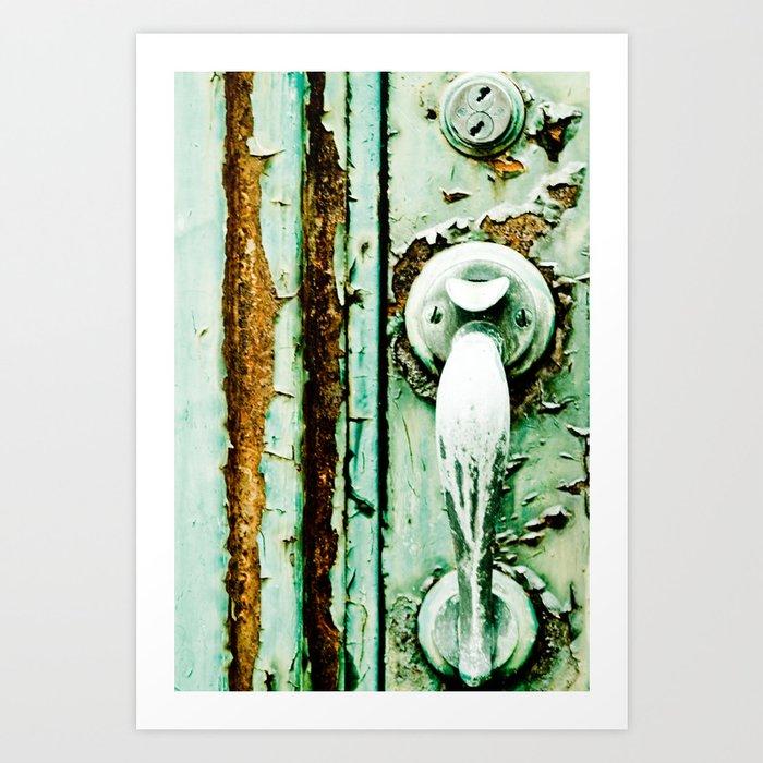 Green Door Handle, Peeling Turquoise Paint, Rusty Door Art Print
